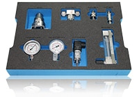 Case insert for filter, manometer and flow meter